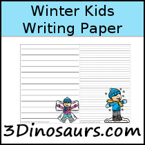 Winter Kids Themed Writing Paper - 3Dinosaurs.com