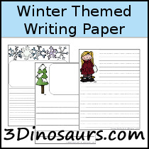 Winter Themed Writing Paper - 3Dinosaurs.com