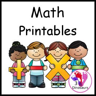 photo regarding Printable Fraction Activities called 3 Dinosaurs - Math Pursuits Printables